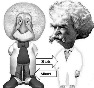 Einstein and Twain Cartoon Comparison