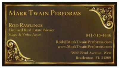 Business Card for Mark Twain Performs